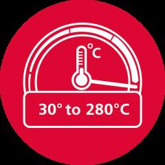 Широкий диапазон температуры 30°C - 280°C